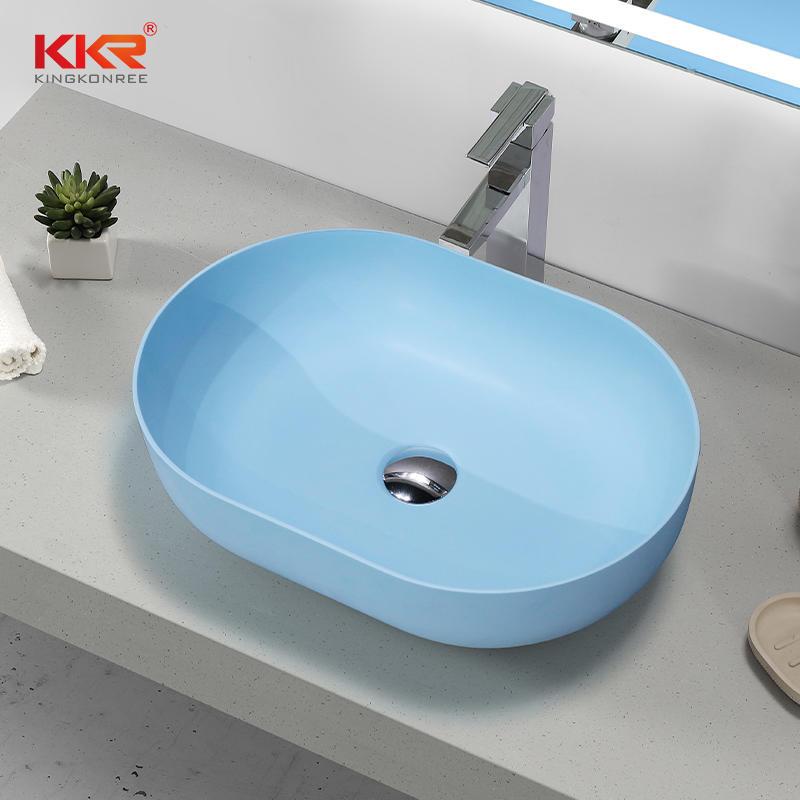 Luxury Sky Blue Solid Surface Stone Oval Bathroom Sink EU Hot Selling Wash Basin KKR-1151