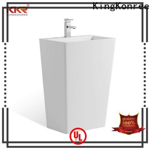 KingKonree solid freestanding pedestal sink manufacturer for bathroom