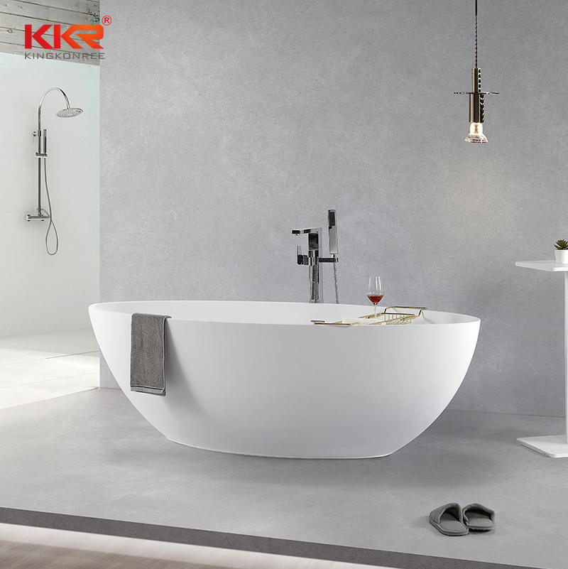 Customize Solid Surface Bath Freestanding Bathroom Stone Resin Bath Tub KKR-B093