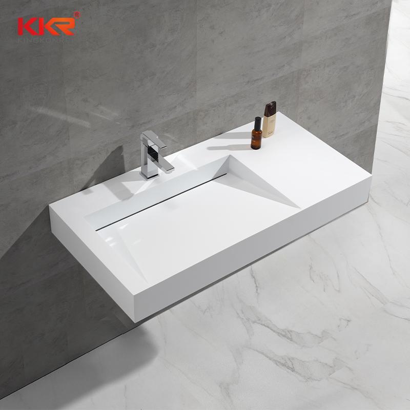 KKR Hotel Bathroom Sink Acrylic Solid Surface Wall Hung Wash Basin KKR-1375