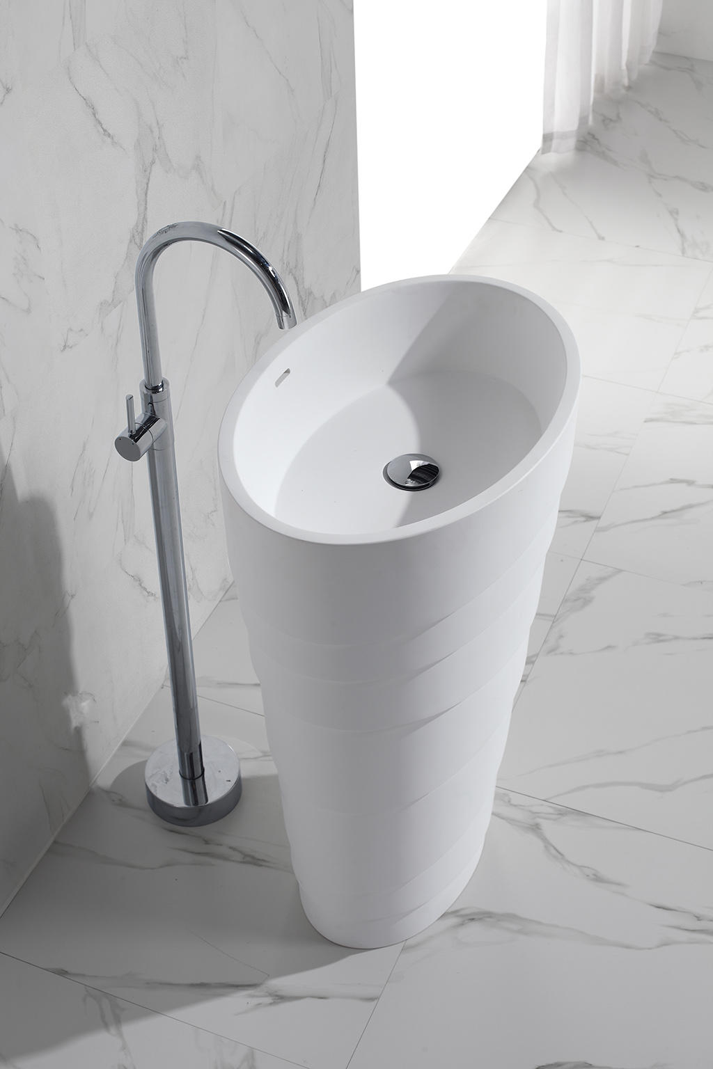 New design artificial marble solid surface freestanding wash basin KKR-1398-1
