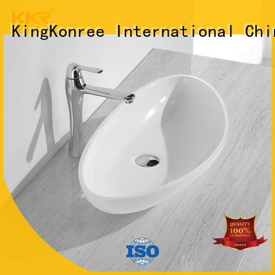 KingKonree pure bathroom vanity above counter basin marble for restaurant