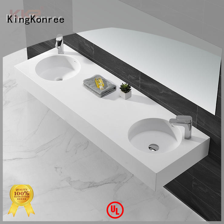 marble square wall hung basin double for home KingKonree