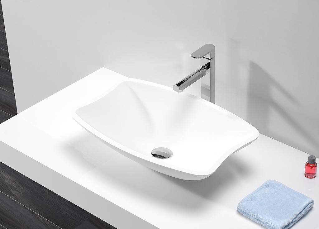 White Polymarble Solid Surface Acrylic Resin Stone Above Counter Basin KKR-1511-1