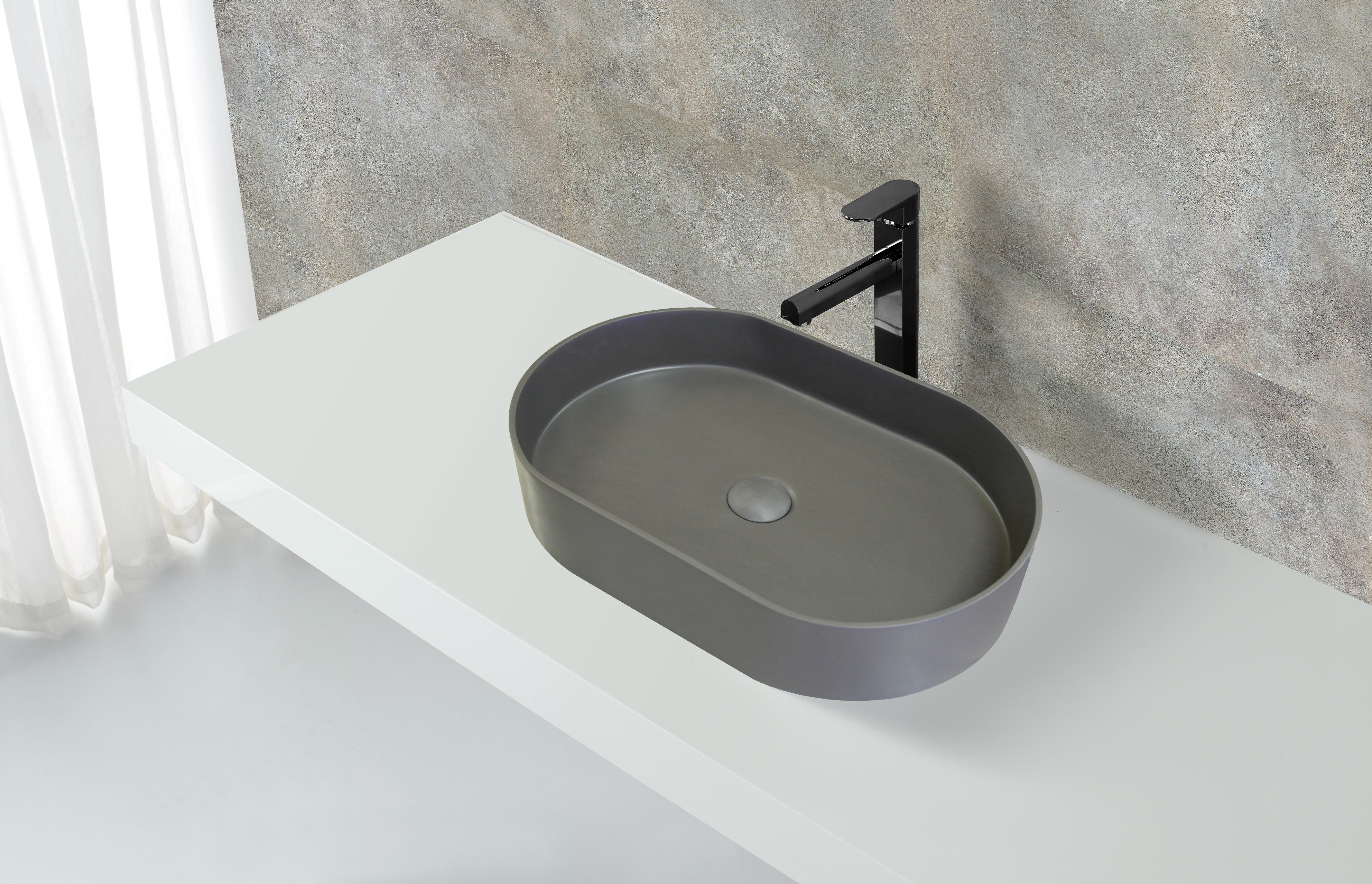 New Design High Quality Black Outside White Inside Above Counter Wash Basin KKR-1057-1