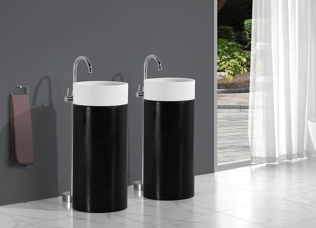 KingKonree rectangle stand alone bathroom sink design for hotel-1