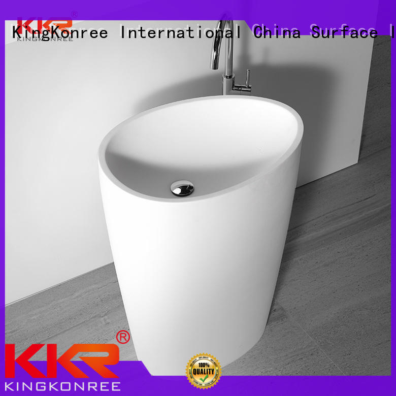 KingKonree stand alone bathroom sink customized for hotel