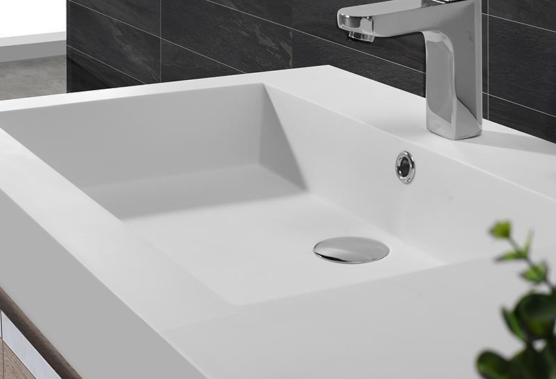 Dark Grey Acrylic Solid Surface Cabinet Basin KKR-1534-2