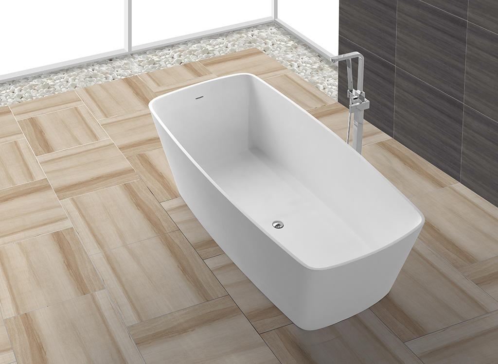 Big Size Rectangle Artificial Stone Acrylic Solid Surface Bath Tub With Length Over 1800mm KKR-B026-1
