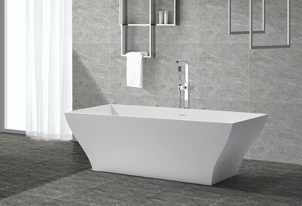 Rectangle Unique Design Polymarble Acrylic Solid Surface Freestanding Soaking Bathtub KKR-B052-1