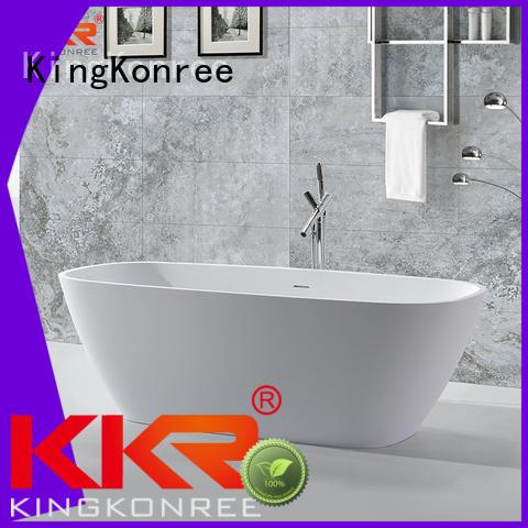 KingKonree Brand outside freestand oval Solid Surface Freestanding Bathtub shelves