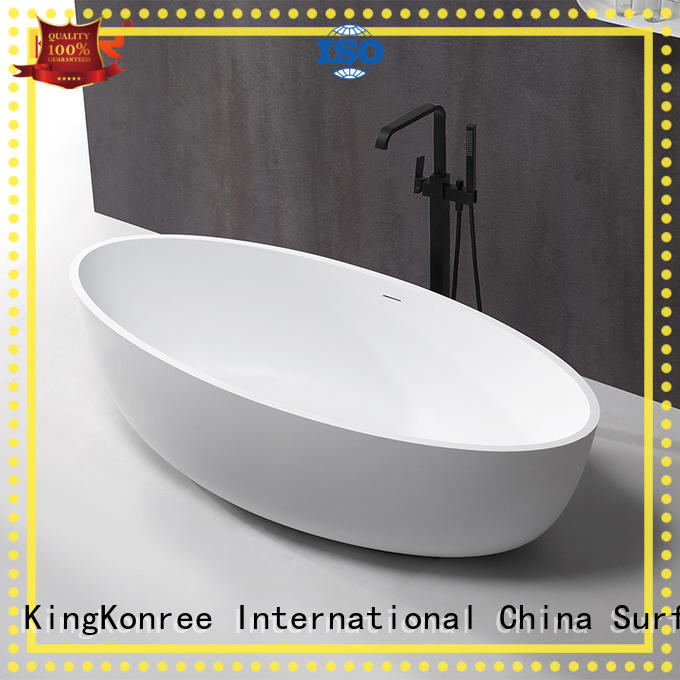 White modern stone bath tub and solid surface freestanding bathtub KKR-B088
