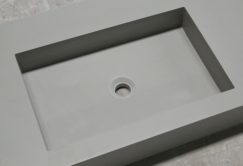 Concrete Color Double Sink Acrylic Stone Solid Surface Cabinet Basin KKR-1368-2