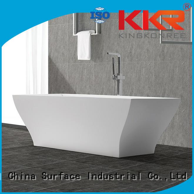 highend size white Solid Surface Freestanding Bathtub KingKonree manufacture