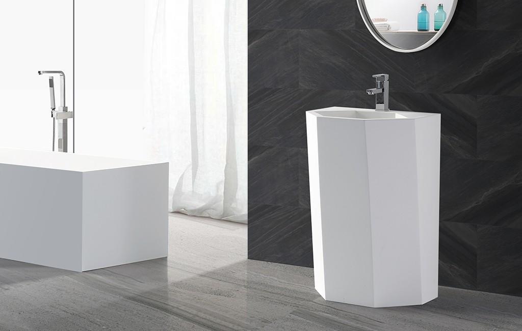 black freestanding pedestal sink supplier for hotel-1