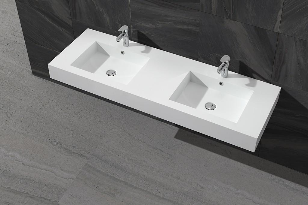 Concrete Color Double Sink Acrylic Stone Solid Surface Cabinet Basin KKR-1368-1