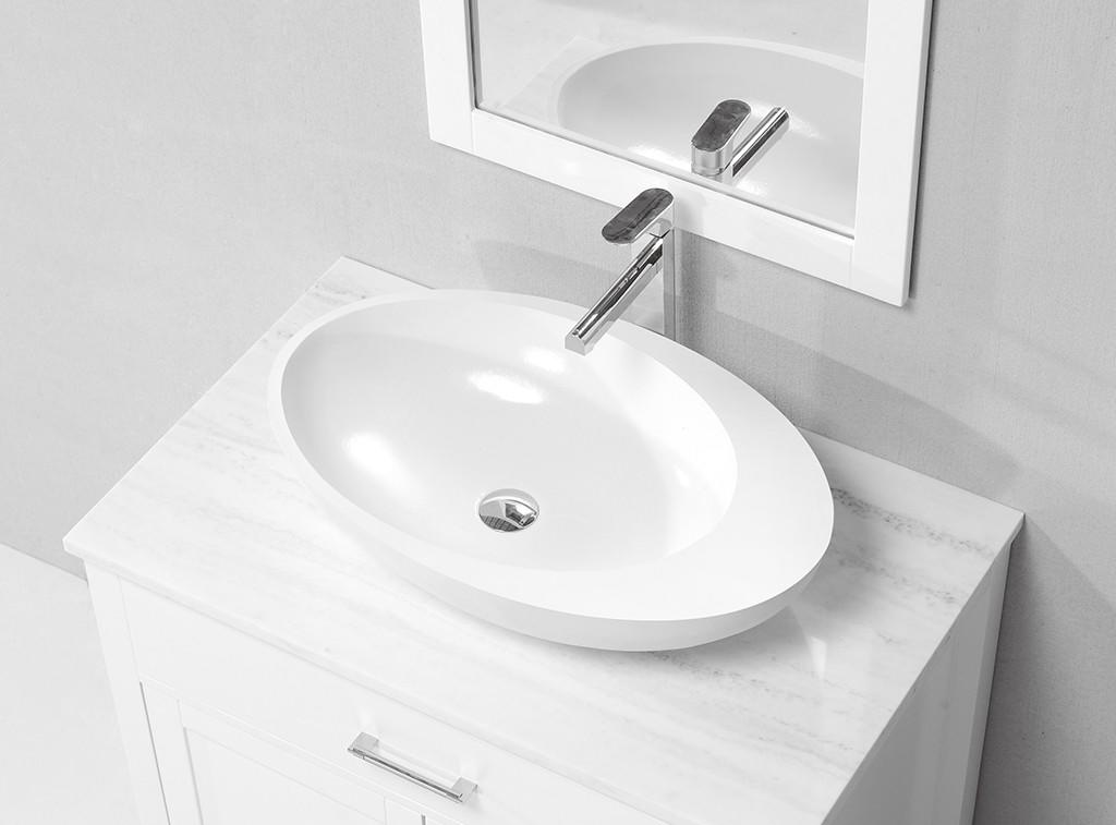 Egg Shape Resin Stone Acrylic Solid Surface Countertop Wash Basin KKR-1056-1