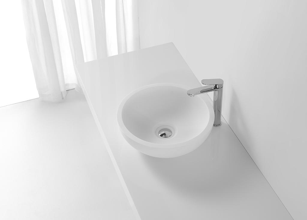 White Solid Surface Small Round Wash Basin KKR-1306-1