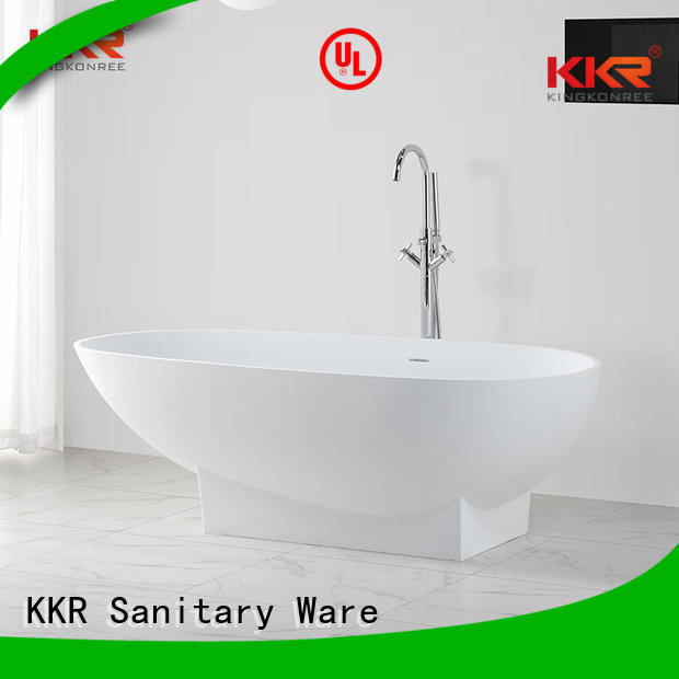 KingKonree Brand storage ellipse shelves custom Solid Surface Freestanding Bathtub