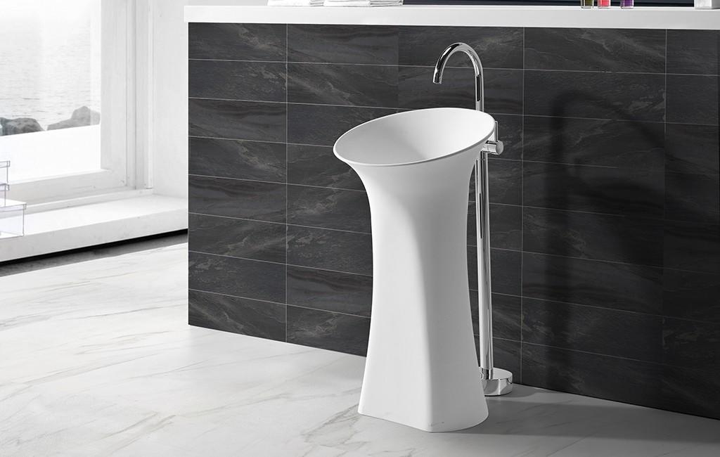 900MM Height Solid Surface Freestanding Pedestal Wash Basin KKR-1581-1