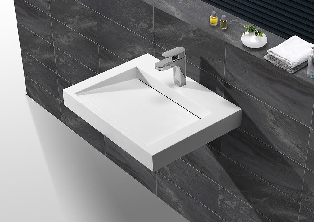 Best selling modern design solid surface square wall hung wash basin KKR-1260-1