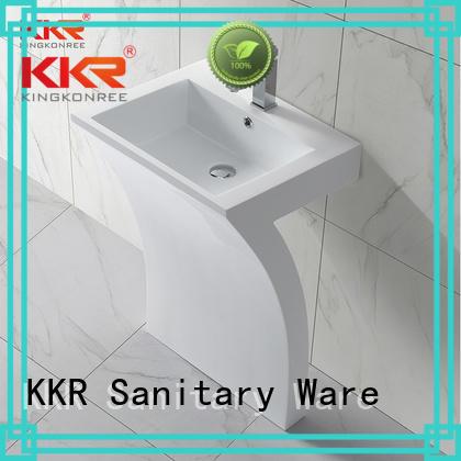 KingKonree Brand white artificial free custom bathroom free standing basins