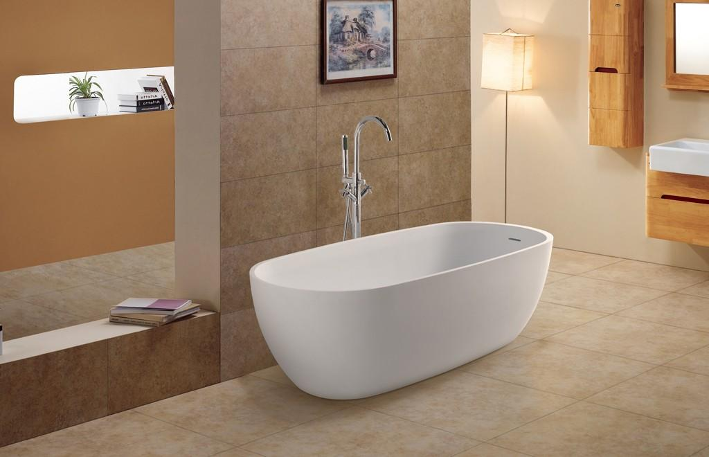 Five Star Hotel Standard Acrylic Solid Surface Freestanding Bathtubs KKR-B027-1