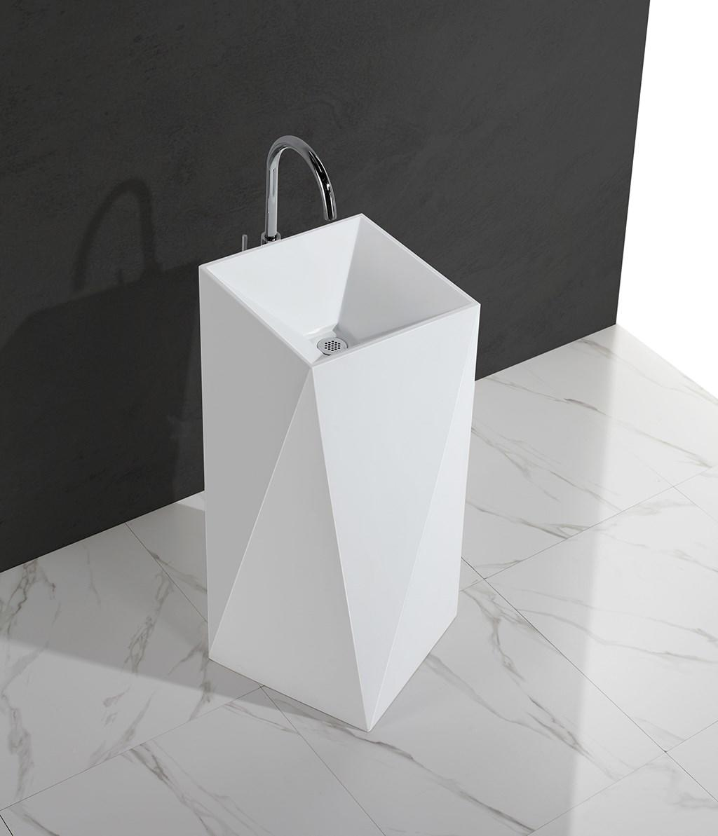 Diamond design white marble acrylic solid surface bathroom wasn basin KKR-1387-1