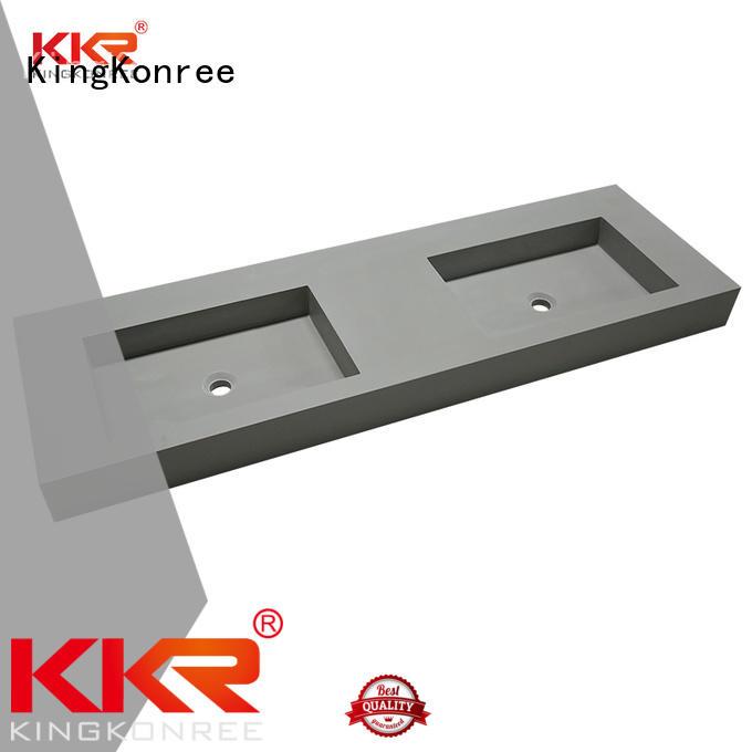 Concrete Color Double Sink Acrylic Stone Solid Surface Cabinet Basin KKR-1368