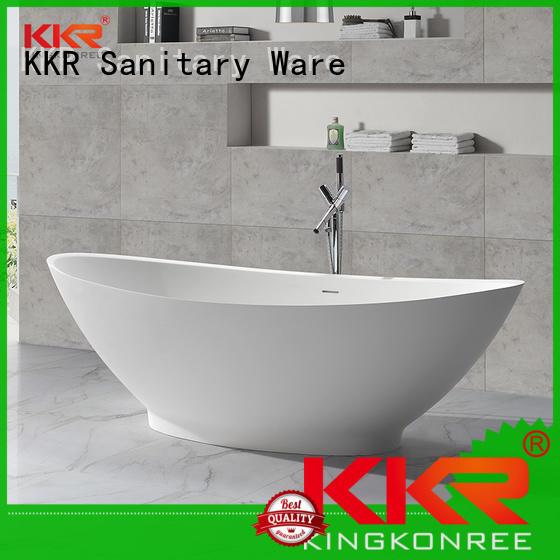 Big Size White Polymarble Acrylic Solid Surface Freestanding Bathtub KKR-B051