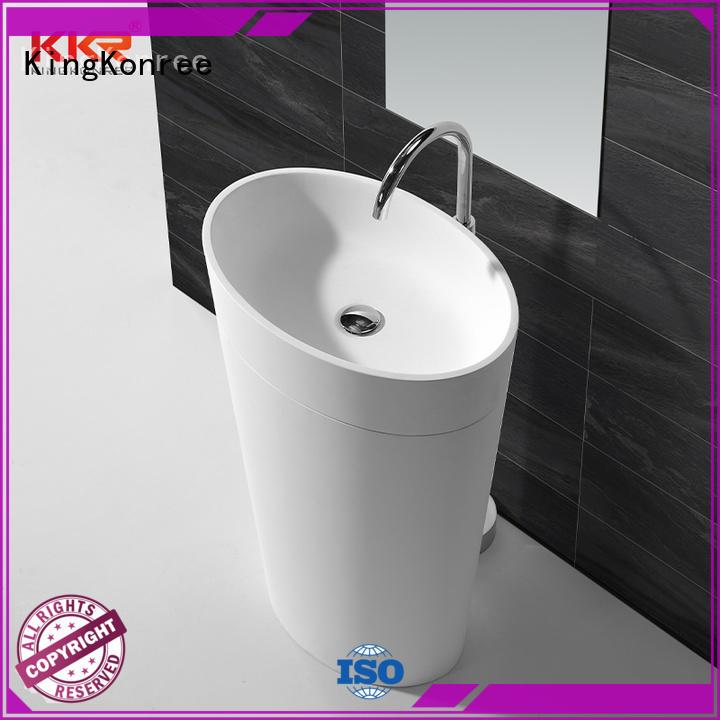 KingKonree pan shape freestanding pedestal sink factory price for motel