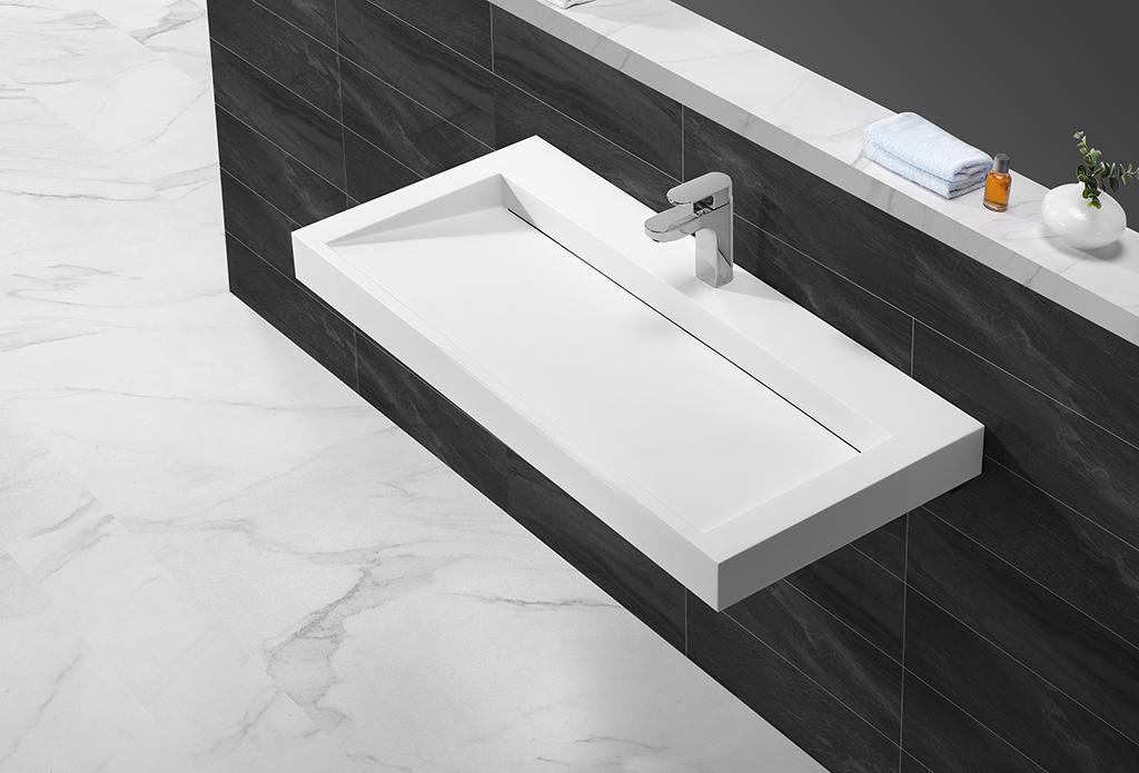 Rectangle acrylic solid surface wall hung basin with slope design KKR-1262-1