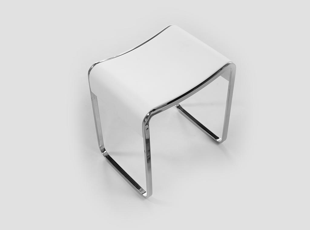 Acrylic Solid Surface Bath Stool With Stainless Steel Connecting Design KKR-Stool-E-1