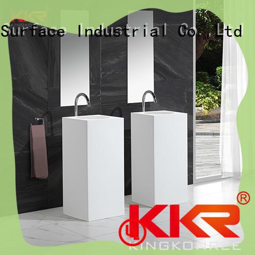 pan shape freestanding pedestal basin factory price for bathroom KingKonree