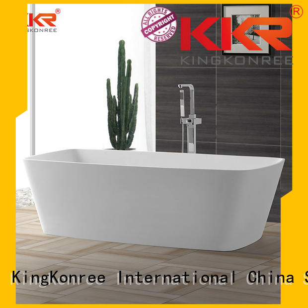 Solid Surface Freestanding Bathtub 190cm against solid surface bathtub inside company