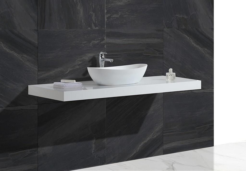 White Marble Acrylic Solid Surface Above Counter Vessel Sink KKR-1307-1