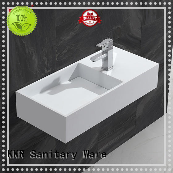High Quality Gel-coat Stone Resin Solid Surface Wall Hang Basin KKR-1364