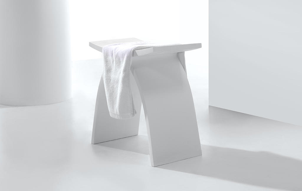Design White Acrylic Solid Surface Bathroom Stool KKR-Stool-A-1
