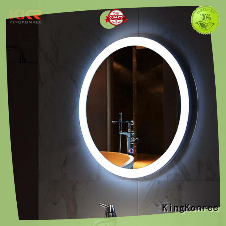 led light decorative bathroom mirrors corner for hotel KingKonree