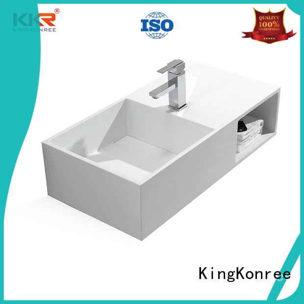 washing rectangular wall mounted basin brown for hotel KingKonree