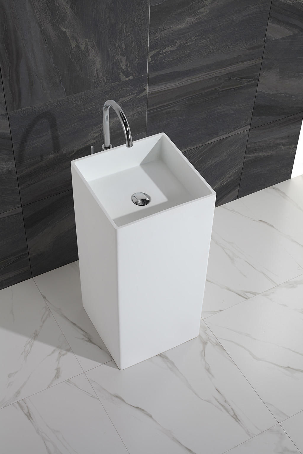 Good quality square faux stone freestanding wash basin KKR-1382-1