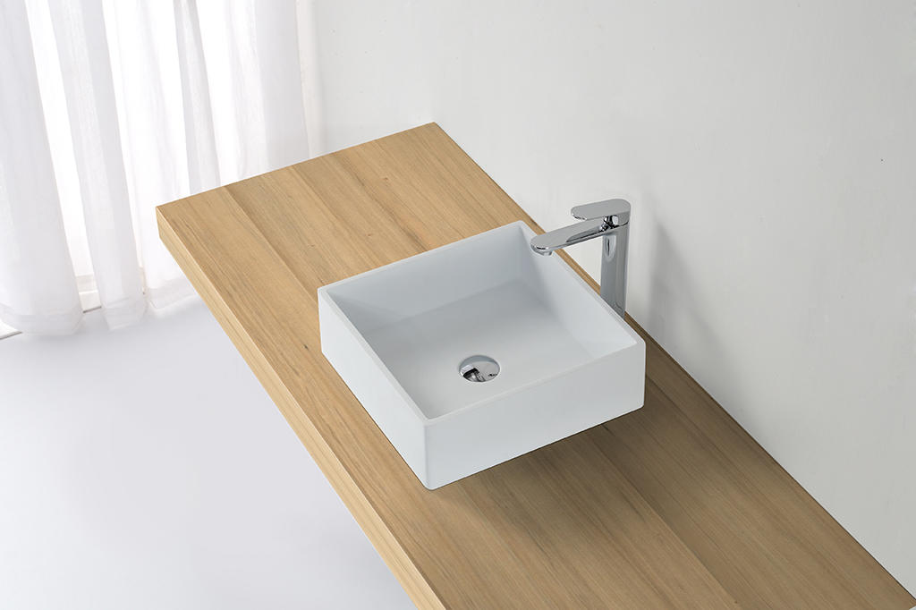KKR High quality pure white square solid surface above counter basin KKR-1382-1-1