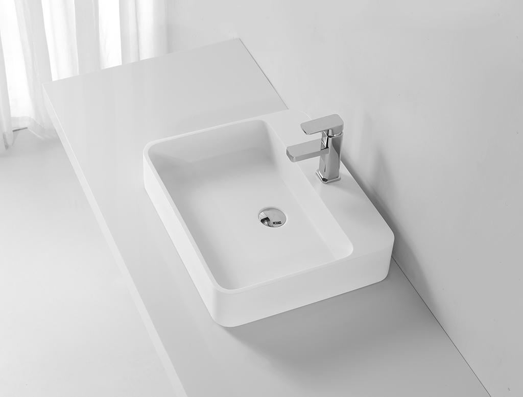 Acrylic Stone Solid Surface Rectangular Above Counter Wash Basin KKR-1370-1