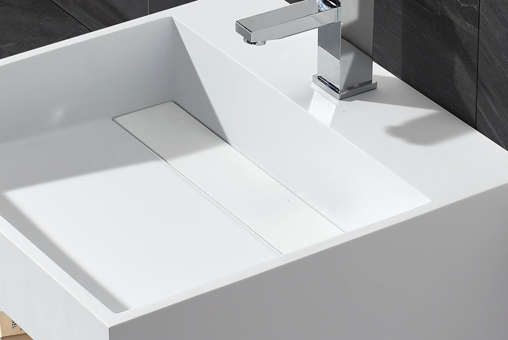 Small Size Artificial Stone Acrylic Solid Surface Square Wall Hang Wash Basin KKR-1360-2