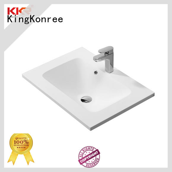 KingKonree solid surface acrylic wash basin cabinet design for hotel