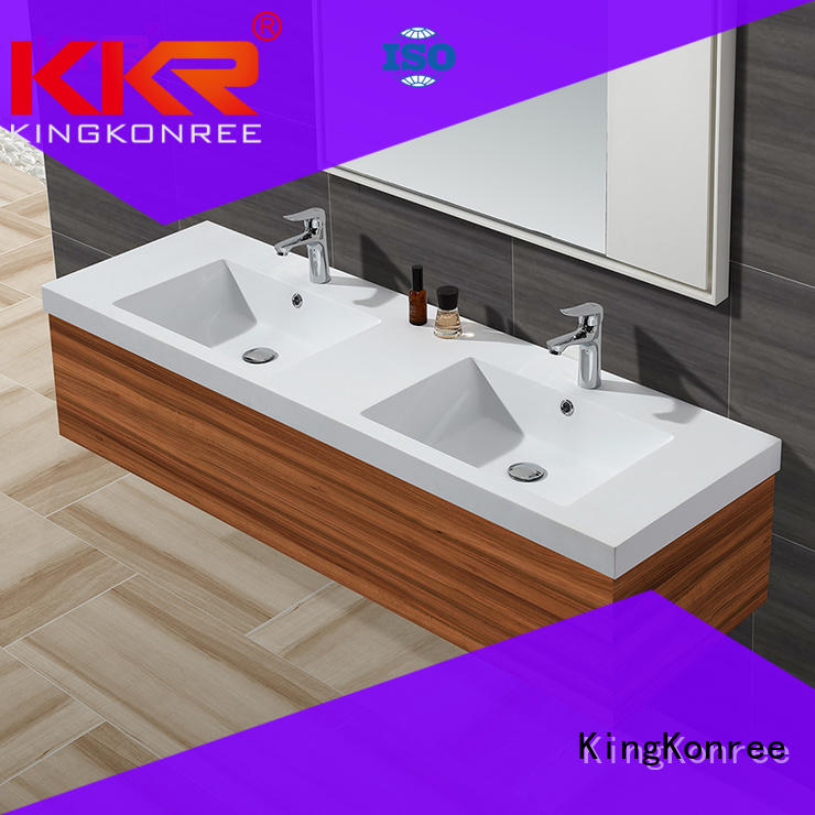 KingKonree smooth wash basin with cabinet hindware dark for bathroom