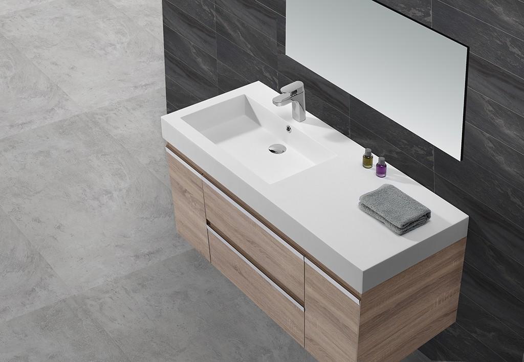 Dark Grey Acrylic Solid Surface Cabinet Basin KKR-1534-1
