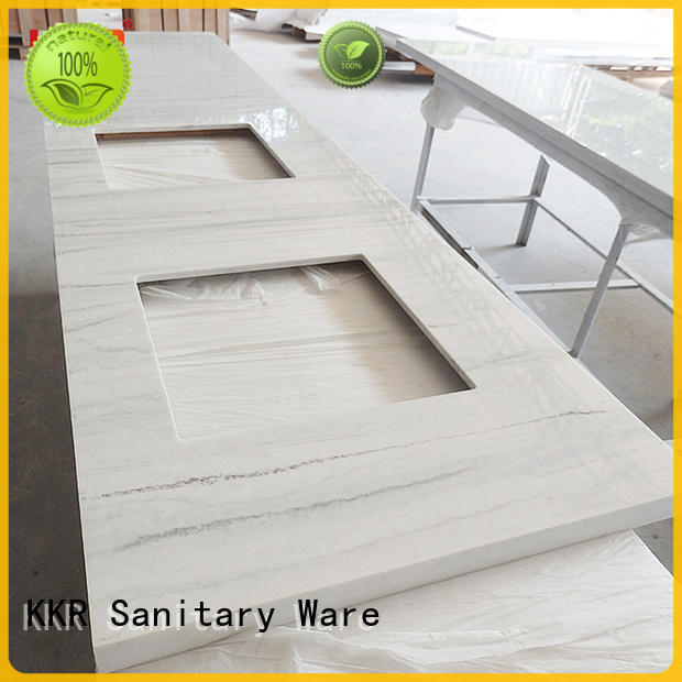 KingKonree white solid stone countertops under-mount for hotel