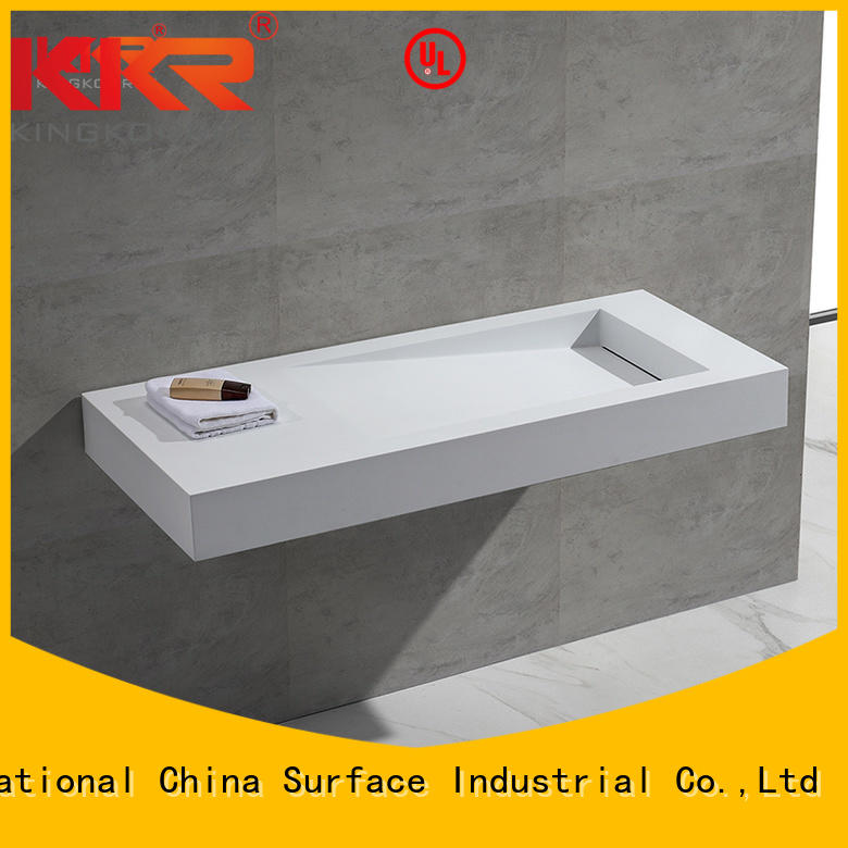resin hung towel white wall mounted wash basins KingKonree