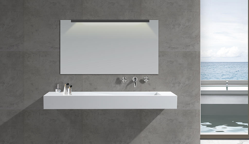 White Marble Acrylic Resin Stone Solid Surface Wall Mounted Wash Basin KKR-1374-1